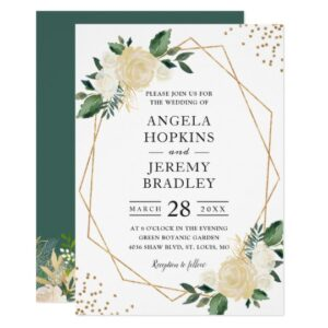 Modern Gold Frame Ivory Green Floral Invite Suite