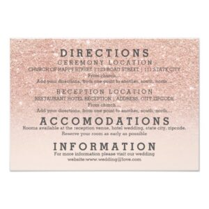 Faux rose gold glitter ombre wedding