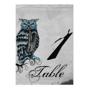 Blue Gothic Owl Posh Wedding