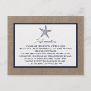 Navy Starfish On Burlap Beach Wedding Collection