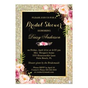 Invitation Suite: Gold Glitter Sparkles Floral