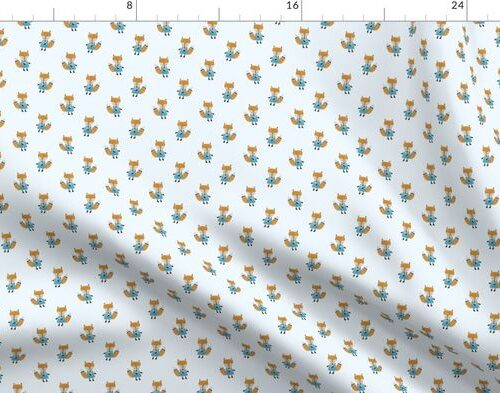 Fox Forest Friends All Over Repeat Pattern on Baby Blue