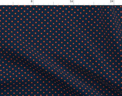 Mini Navy and Orange Polka Dots