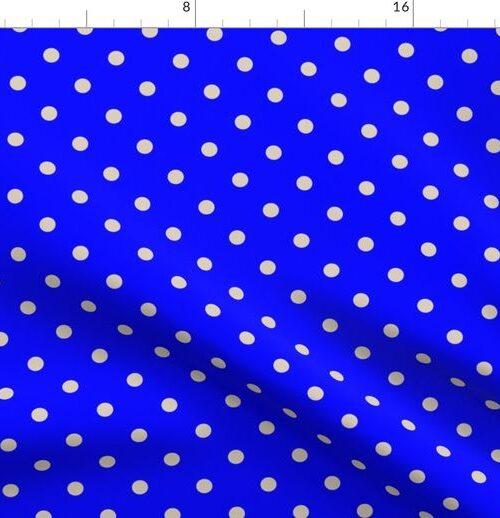 Beige Tan Polka Dots on Royal Blue