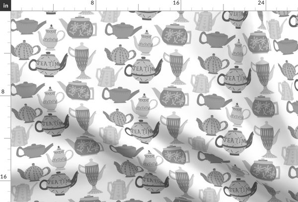 Vintage Teapots for Tea in Shades of Grey