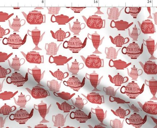 Vintage China Teapots for Tea Time in Pink and Red