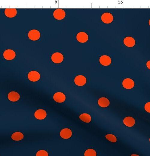 Navy and Neon Orange Jumbo Dots