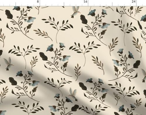 Blue Bluebells and Bluebirds Floral Pattern Cream