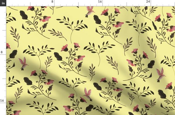Rose Flowers  and Hummingbirds on Butter Yellow