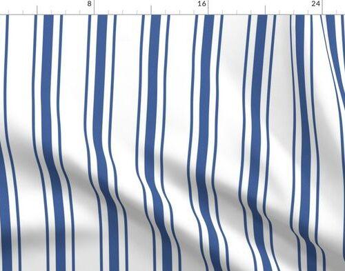 Mattress Ticking Wide Striped Pattern in Dark Blue and White
