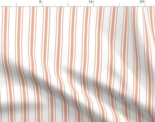 Small Shell Coral Peach Orange Mattress Ticking Stripes