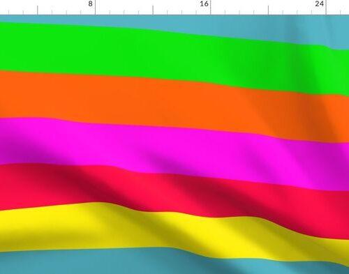 Neon Hawaiian Rainbow Horizontal Cabana Stripes