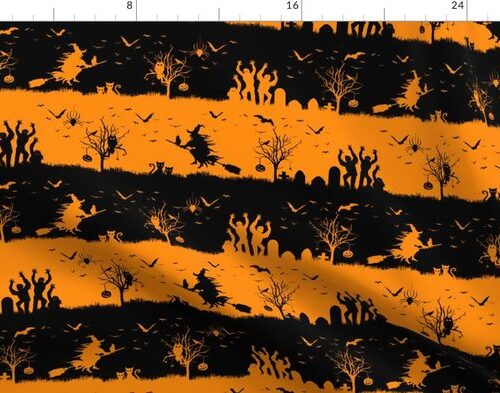 Pale Pumpkin Orange and Black Halloween Nightmare Stripes