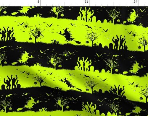 Slime Green and Black Halloween Nightmare Stripes
