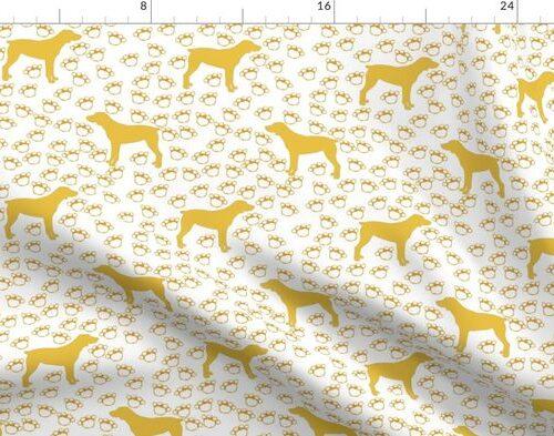 Big Yellow Dog and Paw Prints