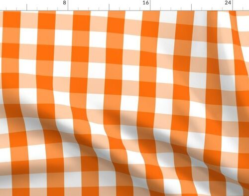 Classic Pumpkin Orange and White Gingham Check Pattern