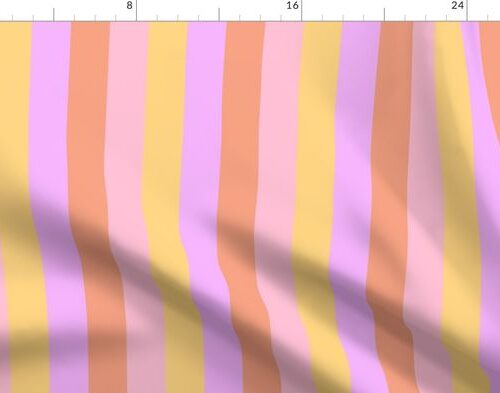 Hibiscus Hawaiian Flower Cabana Stripes in Pink, Yellow, Peach and Lilac