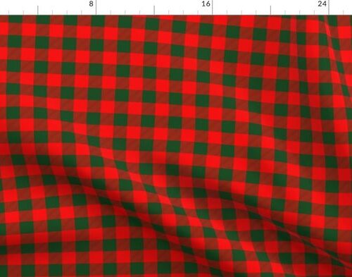 Tiny Holly Red and Balsam Green Christmas Country Cabin Buffalo Check