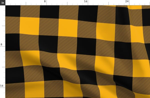 Jumbo Goldenrod Yellow and Black Rustic Cowboy Cabin Buffalo Check