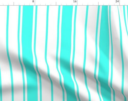 Art Deco Aqua and White Vertical French Stripe