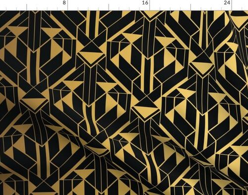 Black and Gold Faux Foil Vintage Art Deco Geometric Triangle Pattern