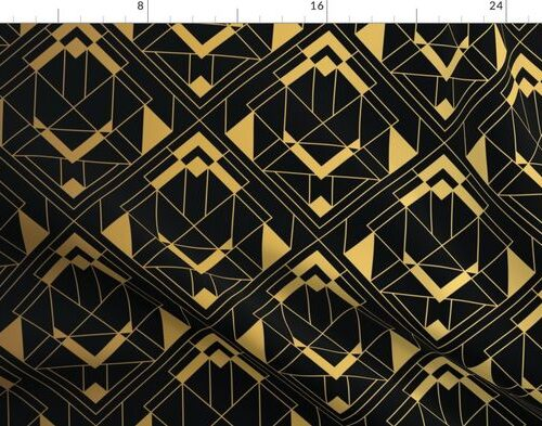 Black and Gold Vintage Art Deco Diagonal Diamond Geometric Repeat