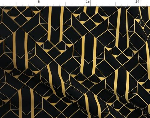 Black and Gold Vintage Art Deco Geometric Linear Repeat Pattern