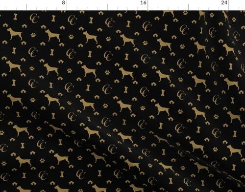 Cane Corso on Black with Louis Luxury Motifs in Tan