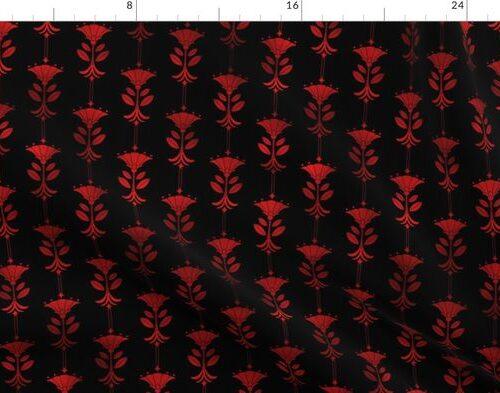 Damask Motifs in Black and Ruby Red Vintage Faux Foil Art Deco Vintage Foil Pattern