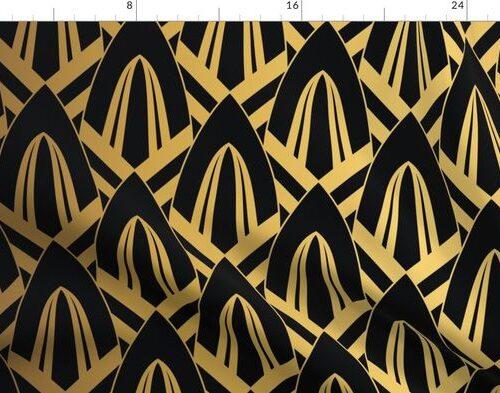Gold Foil on Black Retro Vintage Art Deco Geometric Cross-Hatched Cone Pattern