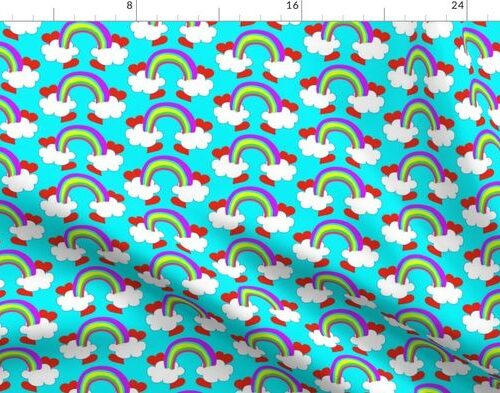 Pastel Rainbow Bridge On Aqua with Red Love Hearts and White Clouds