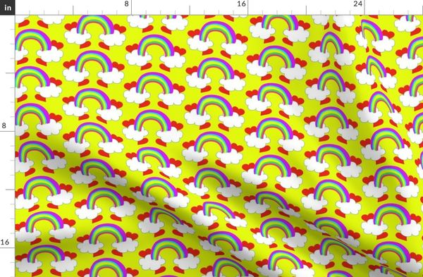 Pastel Rainbow Bridge On Yellow with Red Love Hearts and White Clouds