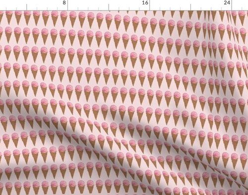Pink Strawberry Ice Cream Waffle Cone Hand Painted Watercolor Pattern
