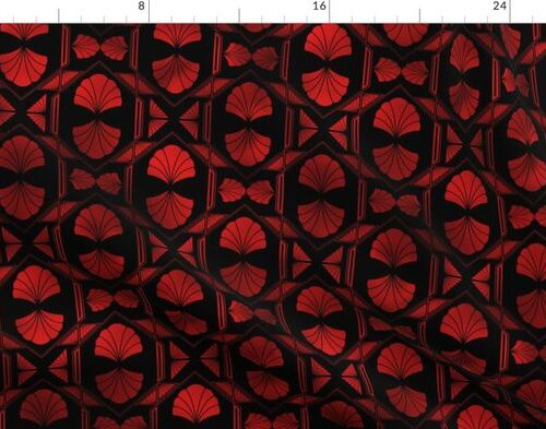 Scallop Shells in Black and Ruby Red Art Deco Vintage Foil Pattern