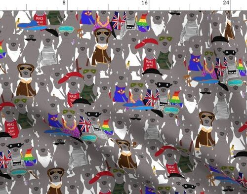 Small Print Dog Weim Nation Grey Ghost Weimaraner Hand-painted Pet Pattern on White