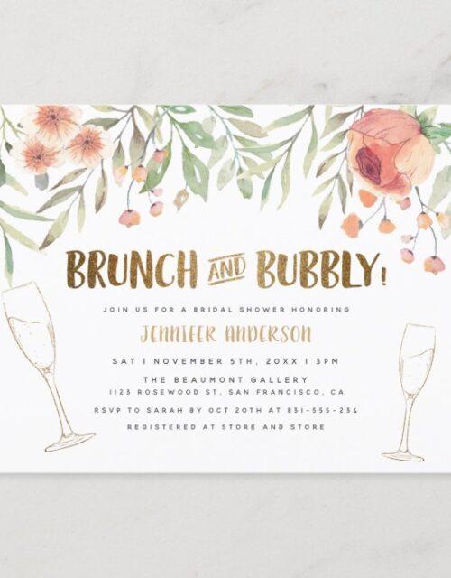 Blush Floral & Gold Brunch & Bubbly Bridal Shower Invitation Postcard
