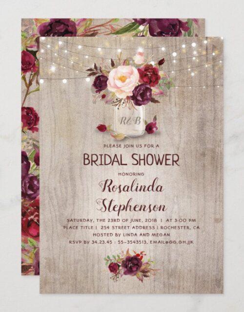 Burgundy Red Floral Mason Jar Rustic Bridal Shower Invitation