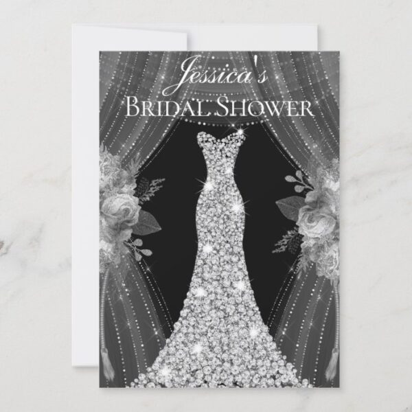Elegant Silver Curtains Dress Bridal Shower Invite