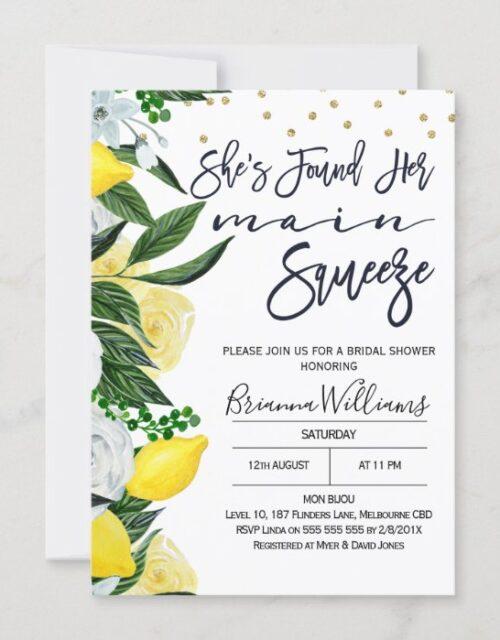 Lemon Floral Main Squeeze Bridal Shower Invitation