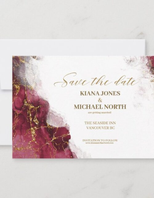 Marble Glitter Wedding Burgundy Gold ID644 Save The Date