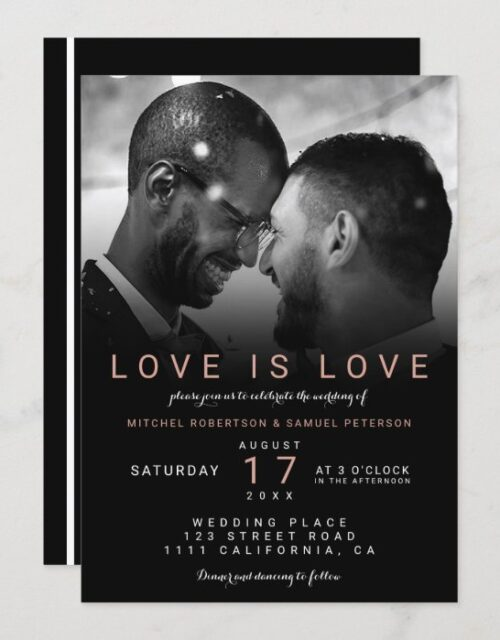 Modern black rose ombre photo gay wedding invitation