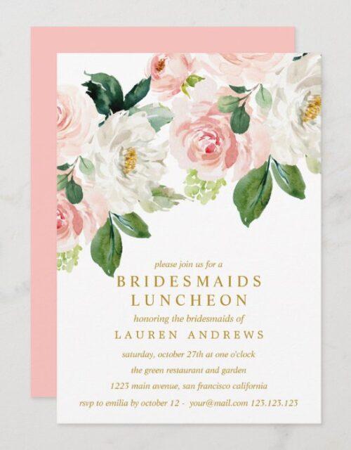 Modern Blush Bouquet Bridesmaids Luncheon Wedding Invitation