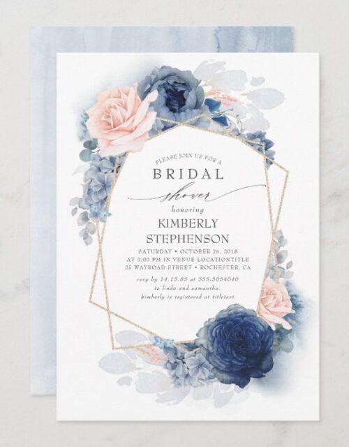 Navy Blush Dusty Blue Floral Modern Bridal Shower Invitation
