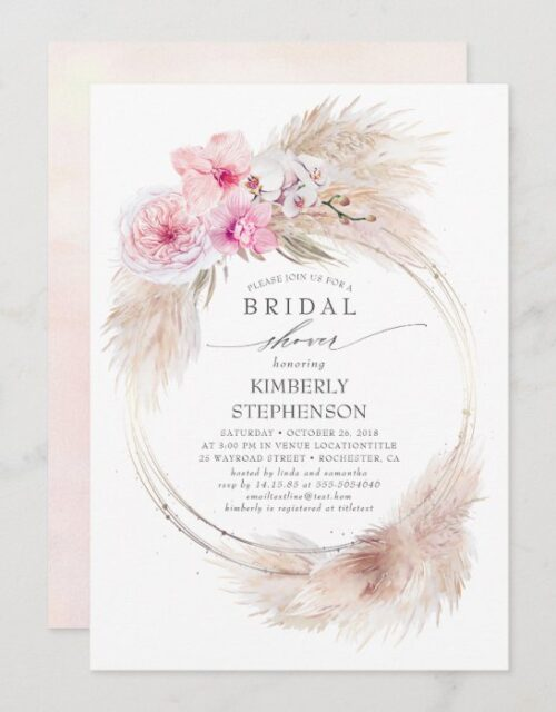 Pampas Grass and Pink Orchids Exotic Bridal Shower Invitation