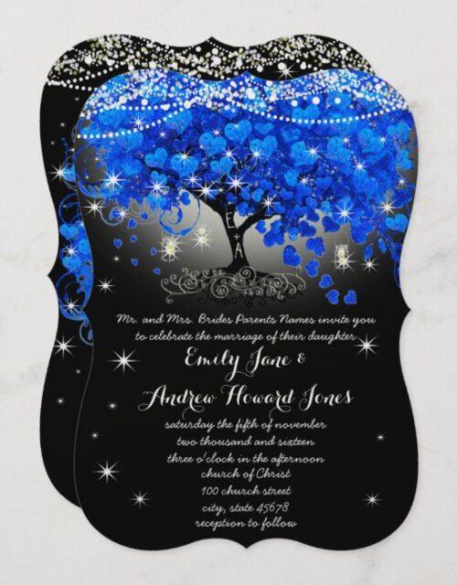 Royal Blue Heart Leaf Tree Mason Jar on Black Invitation