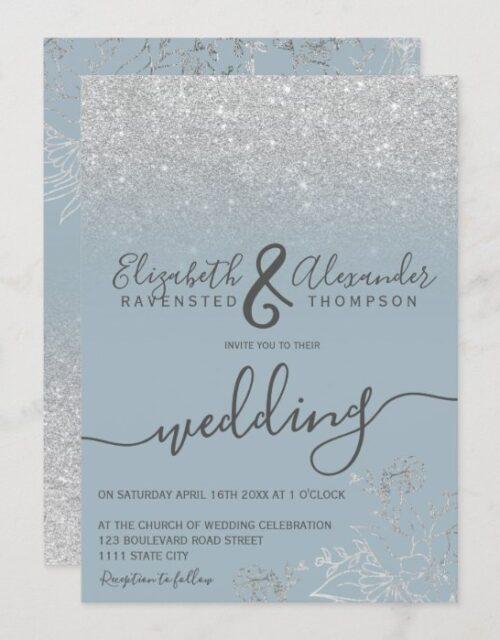 Silver floral glitter dusty blue script wedding invitation