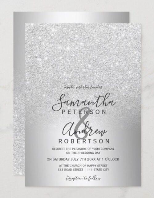 Silver glitter ombre metallic foil wedding invitation