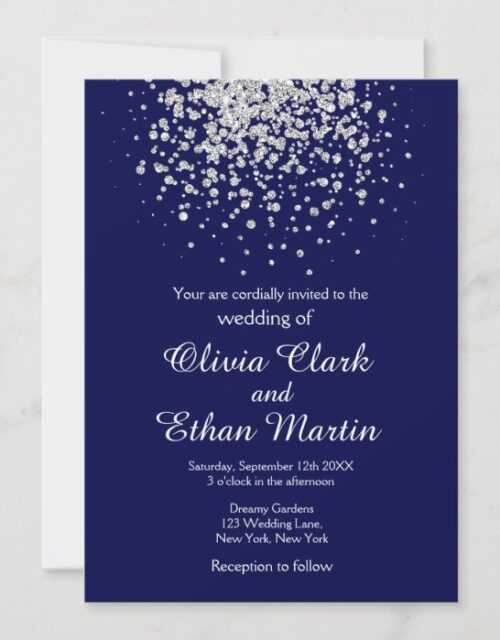 Splash of Silver Glitter on Royal Blue Invitation