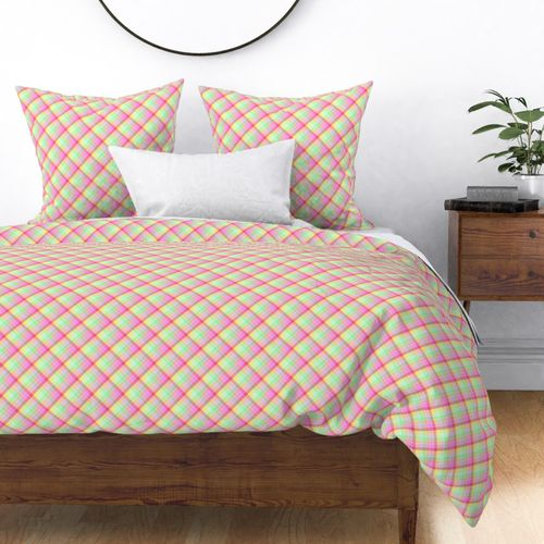 Small Pastel Rainbow Tablecloth Diagonal Check Duvet Cover