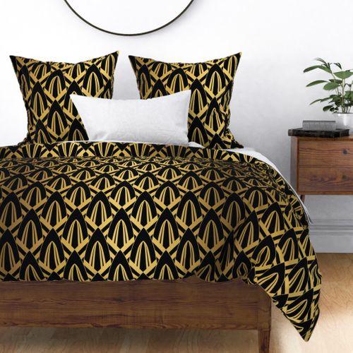 Gold Foil on Black Retro Vintage Art Deco Geometric Cross-Hatched Cone Pattern Duvet Cover